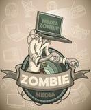 Medios zombis con un ordenador portátil en vez de una cabeza label libre illustration