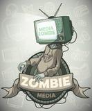 Medios zombis con una TV en vez de una cabeza label stock de ilustración