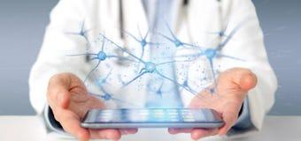 Medique guardar um 3d que rende o grupo de neurônios Imagem de Stock