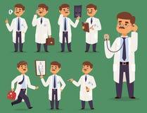 Medique a ilustração lisa do doutorado dos povos da equipe do hospital do projeto do pessoal do homem médico do vetor do caráter  ilustração do vetor