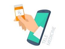 Medique a mão do ` s que guarda o recipiente alaranjado com da doação do telefone Imagem de Stock