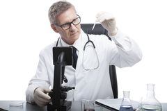 Medique o olhar e analise o tubo de análise de sangue imagens de stock