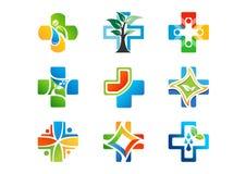Medisch apotheekembleem, gezondheidsgeneeskunde plus pictogrammen, reeks van vectorontwerp van het symbool het natuurlijke kruid Stock Foto's