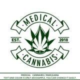 Medisch cannabis of marihuanaembleem Vector en illustratie Zonnepaneel en teken voor alternatieve energie T-shirtmalplaatje royalty-vrije illustratie