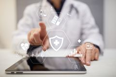MEDISCH concept Bescherming van de gezondheid Moderne technologie in geneeskunde royalty-vrije stock afbeelding