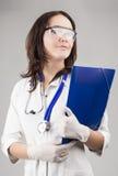 Medisch Concept: Kaukasische Medische Vrouwelijke Arts With Stethoscop royalty-vrije stock afbeeldingen