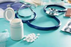 Medisch de pillen farmaceutisch materiaal van de blaar Royalty-vrije Stock Foto