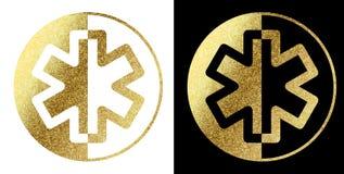Medisch embleem in gouden Royalty-vrije Stock Fotografie