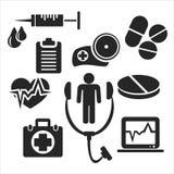 Medisch en gezondheidszorgweb en mobiele pictogrammen Vector Royalty-vrije Stock Fotografie