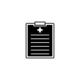 Medisch klembord stevig pictogram, medische vorm Stock Foto