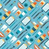 Medisch naadloos patroon met tandmateriaal Stock Foto's