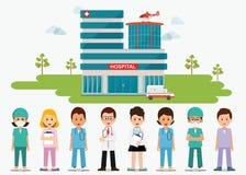 Medisch personeel die zich voor de het ziekenhuisbouw bevinden met ambula stock illustratie
