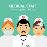Medisch personeel Het is de Artsen en de verpleegsters Modern vlak ontwerp Stock Foto's