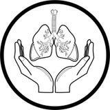 Medisch pictogram. Bescherming van longen. Stock Afbeeldingen