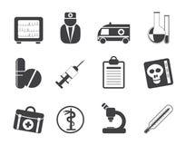 Medisch silhouet en gezondheidszorgpictogrammen Stock Afbeeldingen