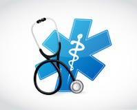 medisch symbool en stethoscoopillustratieontwerp Stock Fotografie
