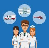 Medisch team met symbolen stock illustratie