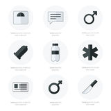 Medisch Vlak zwart-wit Pictogrammen Vectorontwerp Royalty-vrije Stock Fotografie