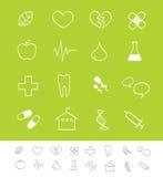 Medische & gezondheidszorgpictogrammen stock illustratie