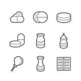 Medische Apotheker Icons Stock Fotografie