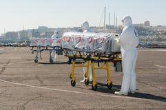 Medische apparatuur voor ebola of viruspandemic stock fotografie