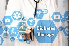 Medische Arts met stethoscoop en het pictogram van de Diabetestherapie in Med stock afbeelding