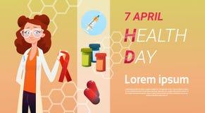 Medische Arts World Health Day 7 April Global Holiday Concept stock illustratie