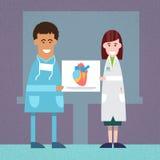 Medische Artsenman Vrouw in het Hartanalyse van de Laboratoriumgreep vector illustratie