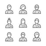 Medische Avatar pictogramreeks Stock Afbeeldingen