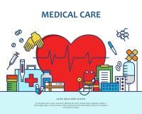 Medische behandelingconcept in moderne vlakke lijnstijl in hartvorm Diagnose, wetenschap en heel wat geneeskundepictogrammen bann stock illustratie