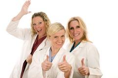 Medische de wijfjes gelukkige uitdrukking van verpleegsters Stock Fotografie