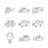 Medische de Ziekenwagenvliegtuigen van lijnpictogrammen en schip vastgestelde pictogrammen Royalty-vrije Stock Afbeeldingen