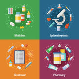 Medische die illustratie met farmaceutische elementen wordt geplaatst Pillen en drugs Arts of klinisch laboratorium E royalty-vrije illustratie