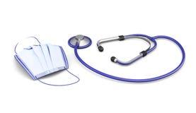 Medische die masker en stethoscoop op witte achtergrond wordt geïsoleerd 3d vector illustratie