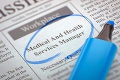 Medische en Gezondheidsdienstenmanager Hiring Now 3d Stock Foto's