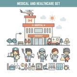 Medische en gezondheidszorgelementen royalty-vrije illustratie