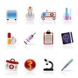 Medische en gezondheidszorgPictogrammen Royalty-vrije Stock Afbeeldingen