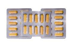 Medische gele capsules royalty-vrije stock foto