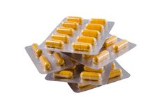 Medische gele capsules stock fotografie