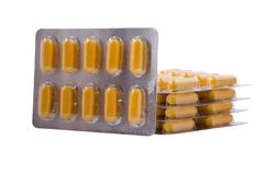 Medische gele capsules royalty-vrije stock fotografie