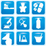 Medische geplaatste pictogrammen Royalty-vrije Stock Afbeelding