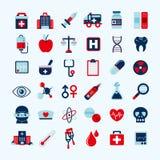 Medische geplaatste pictogrammen. Stock Afbeelding