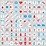 100 medische geplaatste pictogrammen Royalty-vrije Stock Foto's