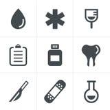 Medische geplaatste pictogrammen Stock Foto's