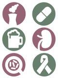 Medische geplaatste pictogrammen Stock Foto