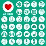 Medische geplaatste pictogrammen: algemeen, hulpmiddelen, organen, symbolen vector illustratie