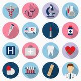 Medische geplaatste pictogrammen Gezondheidszorgpictogrammen Vector Stock Afbeelding