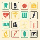 Medische geplaatste pictogrammen Gezondheidszorgpictogrammen Vector Stock Afbeeldingen