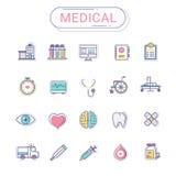Medische geplaatste pictogrammen Het pictogramstijl van de gezondheidszorg leidt de vlakke lijn langs tot De reeks kan voor het z Royalty-vrije Stock Afbeeldingen