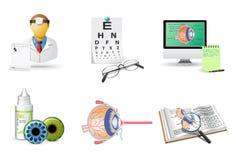 Medische geplaatste pictogrammen | Oftalmologie Stock Afbeeldingen